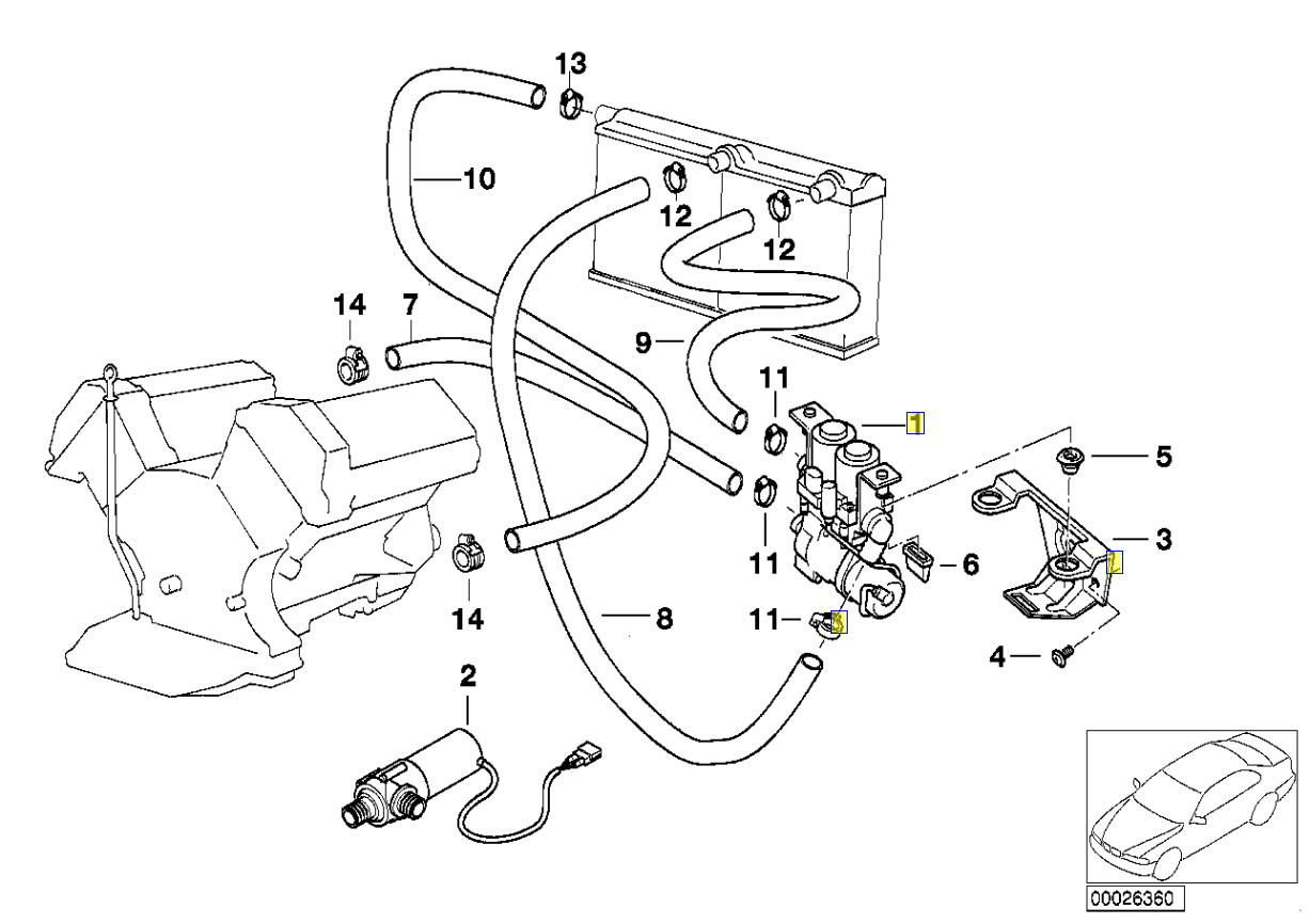 2000 Bmw E39 Engine Diagram Car Parts And Component E38 Heater Water Valve Connector Socket 8374994 Ebay