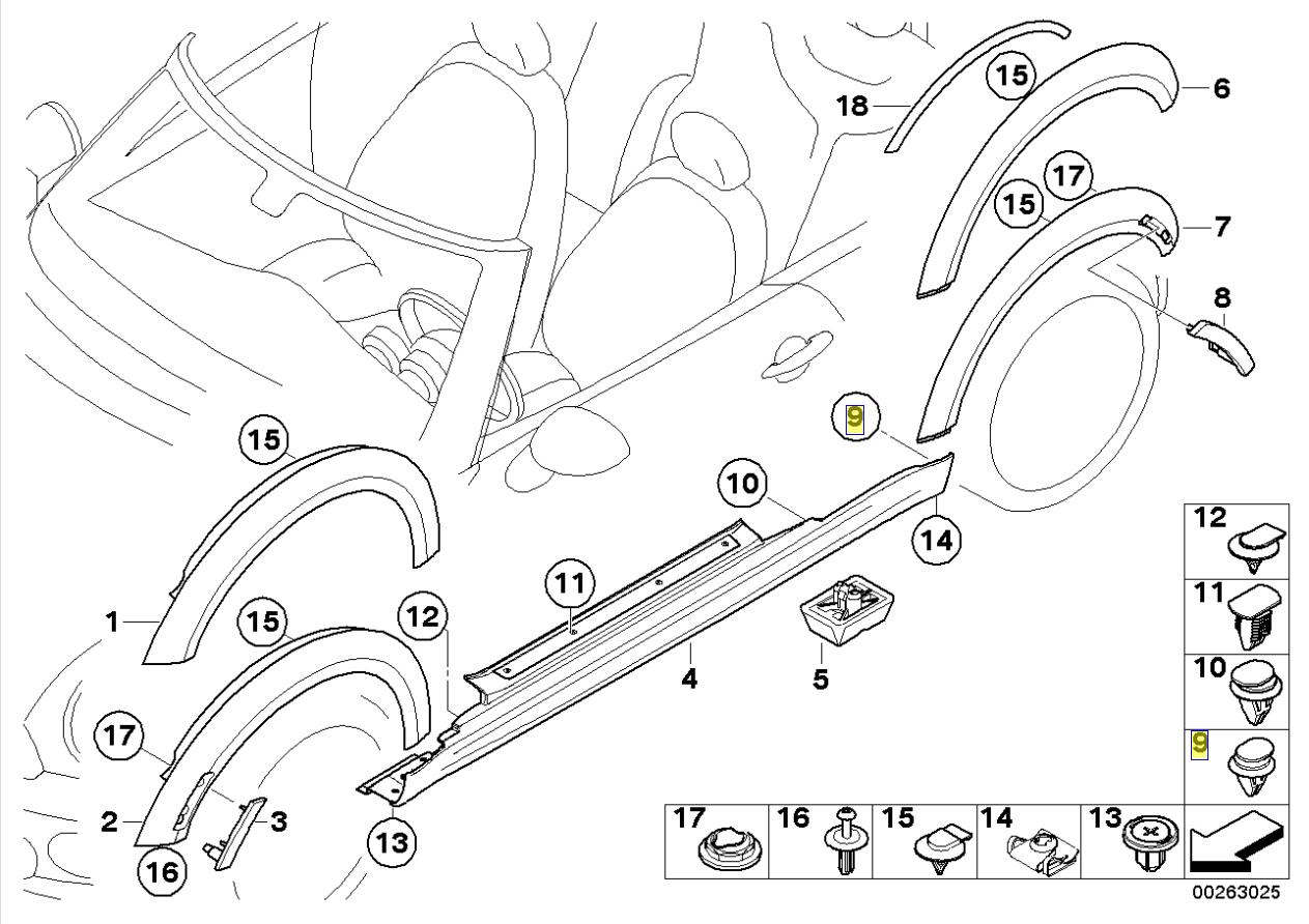 miniatura 2 - MINI corpo Davanzale Trim coperchio del bilanciere Fascetta clip 1480419 0713 1480419